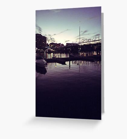 Night at the harbour Greeting Card