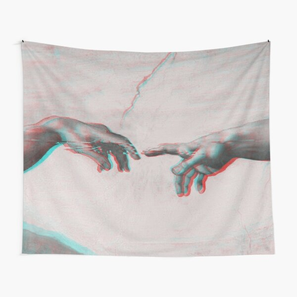 The Creation of Adam in GLITCH - Wall Tapestries Sistine Chapel near-touching hands of God and Adam Red Colorized Tapestry