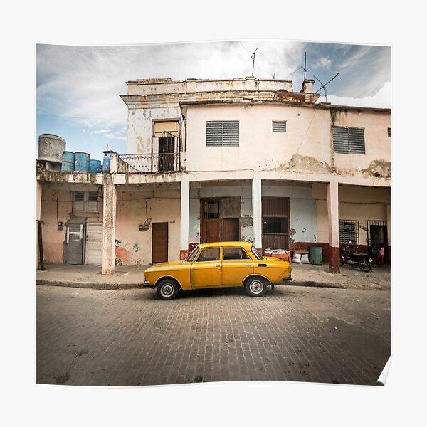 Bright yellow vintage car in La Havana, Cuba. Poster