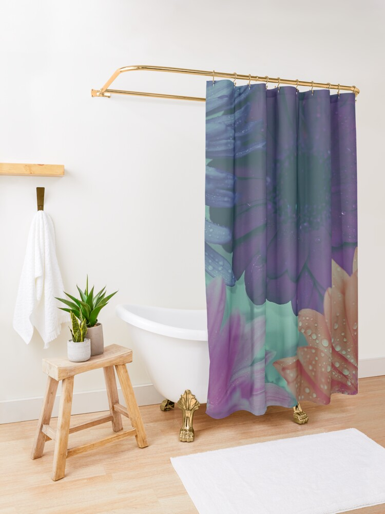 Alternate view of Hipster Bohemian Tropical Flowers Shower Curtain