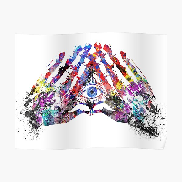 The all seeing eye, the all seeing eye with hand, watercolor all seeing eye Poster