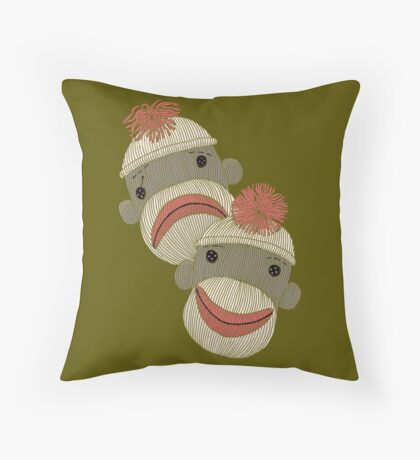 Tragedy and Comedy Sock Monkeys Throw Pillow