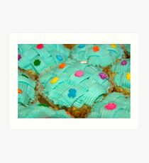 cupcake with green coating and sugar candies Art Print