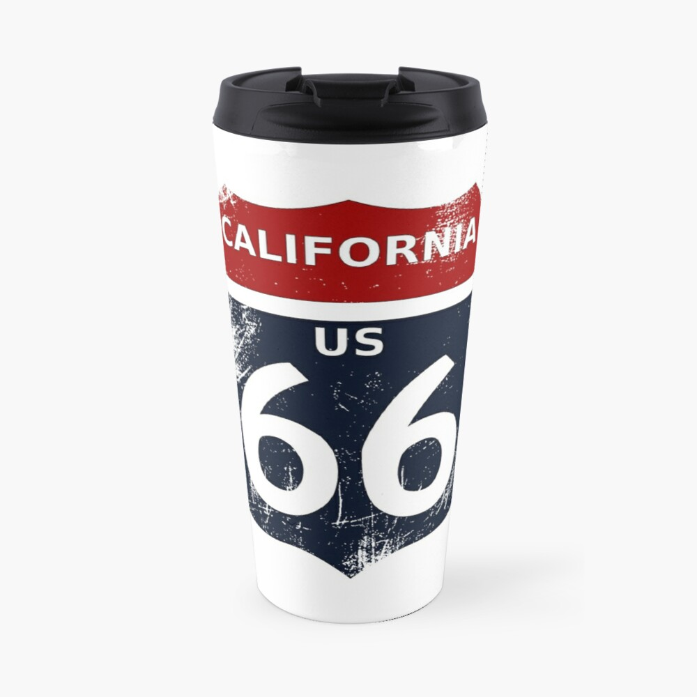 California Route 66 with transparency and no border Travel Mug