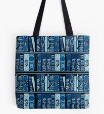 Blue Book Shelves Vintage Books Pattern Tote Bag