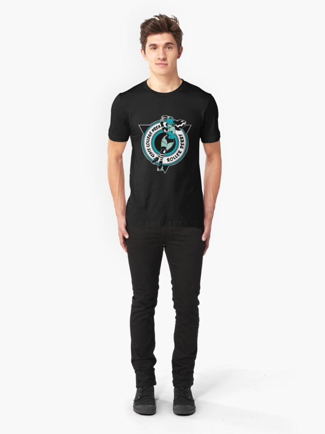 Alternate view of State College Area Roller Derby Logo Slim Fit T-Shirt