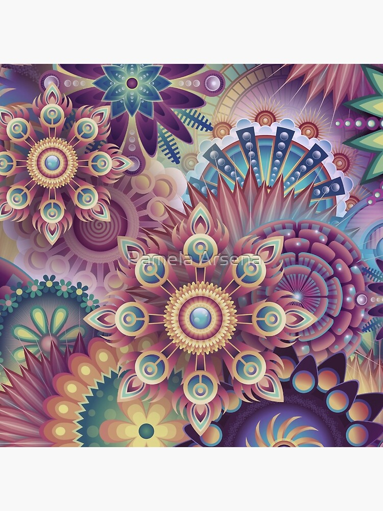 Psychedelic Kaleidoscope Abstract Wilderness Print  by xpressio