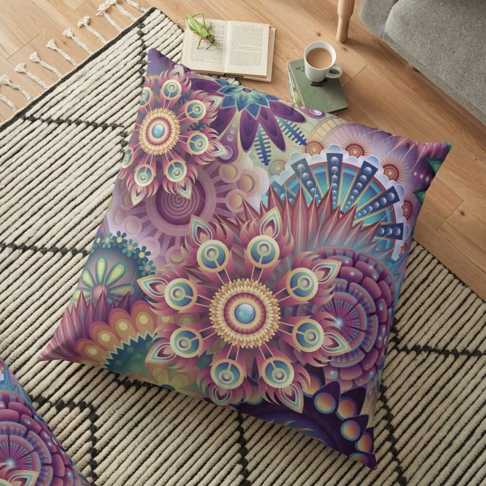 Psychedelic Kaleidoscope Abstract Wilderness Print  Floor Pillow