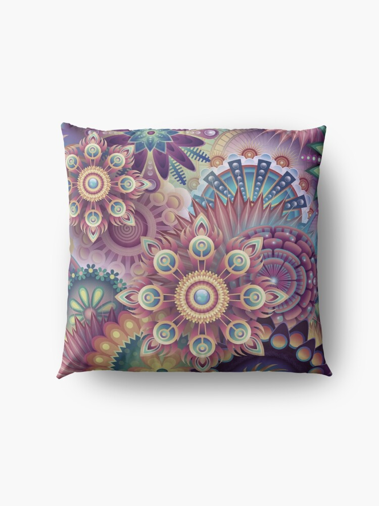 Alternate view of Psychedelic Kaleidoscope Abstract Wilderness Print  Floor Pillow