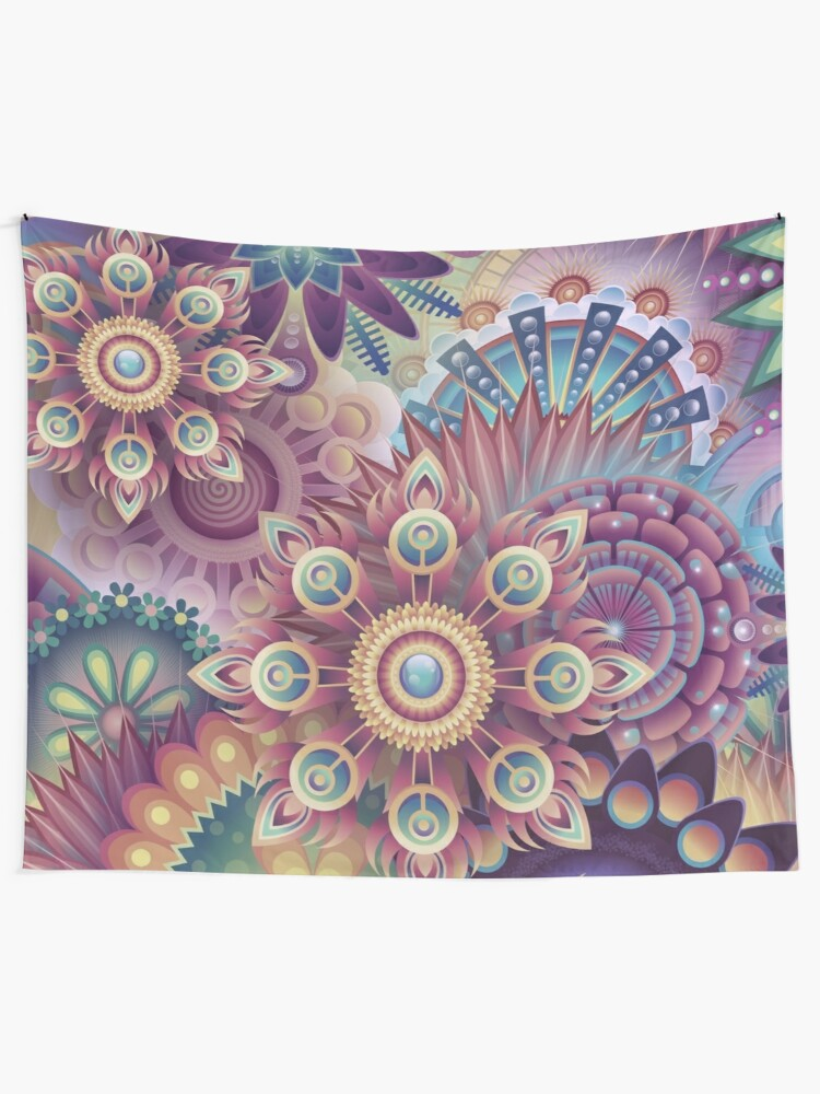 Alternate view of Psychedelic Kaleidoscope Abstract Wilderness Print  Tapestry