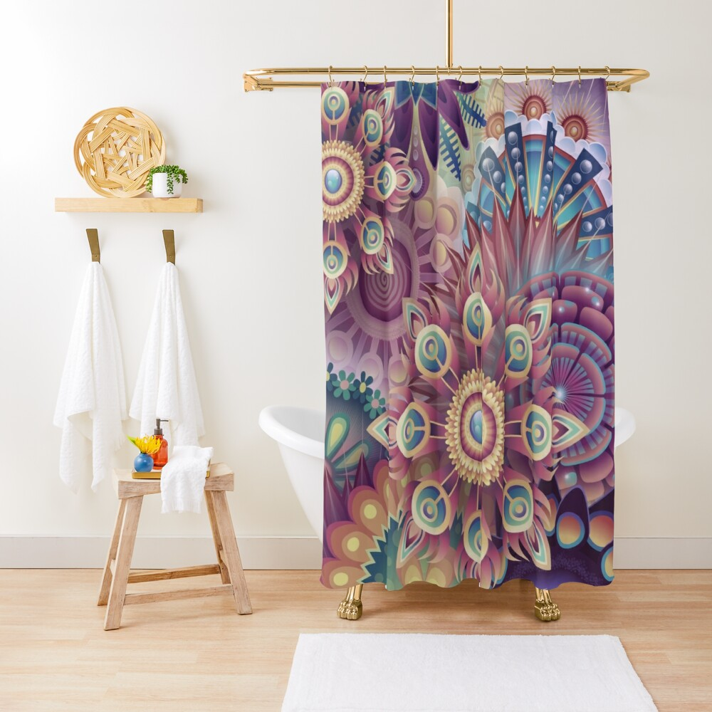 Psychedelic Kaleidoscope Abstract Wilderness Print  Shower Curtain