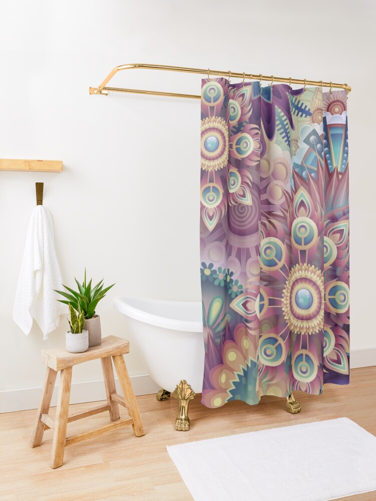 Alternate view of Psychedelic Kaleidoscope Abstract Wilderness Print  Shower Curtain