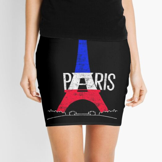 Paris Eiffel Tower France National Flag Souvenir Mini Skirt