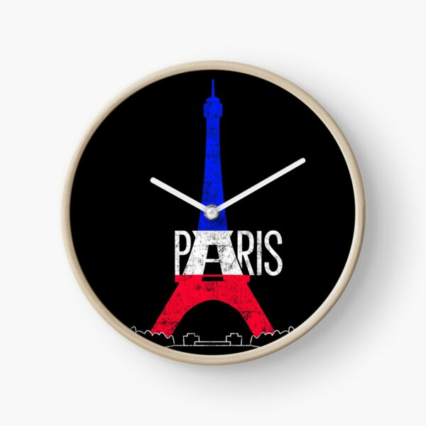 Paris Eiffel Tower France National Flag Souvenir Clock