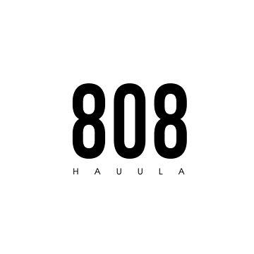 Hauula, HI - 808 Código de área de diseño de CartoCreative