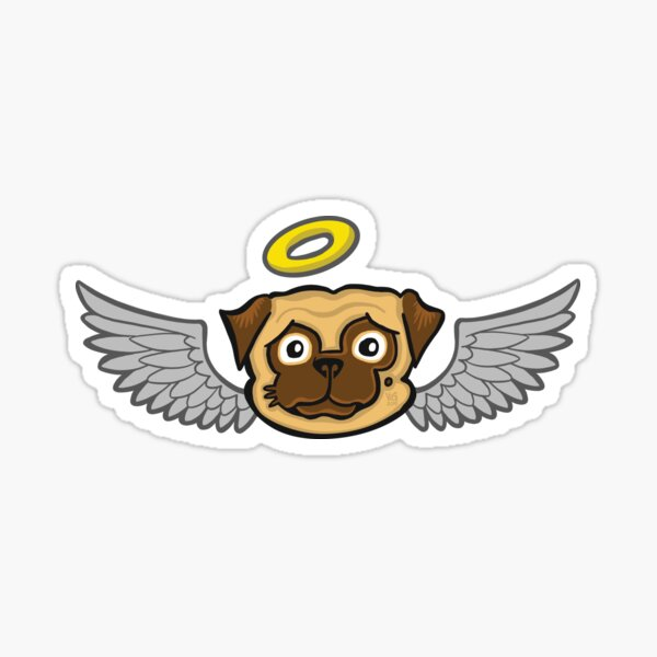 Angel Pug Sticker
