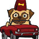 Benevolent Secret Society Pug In A Tiny Car by chrisvig