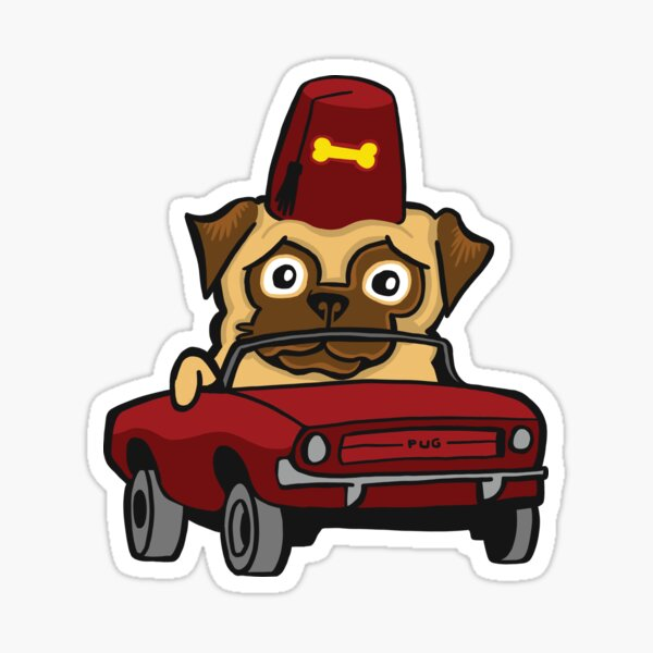Benevolent Secret Society Pug In A Tiny Car Sticker