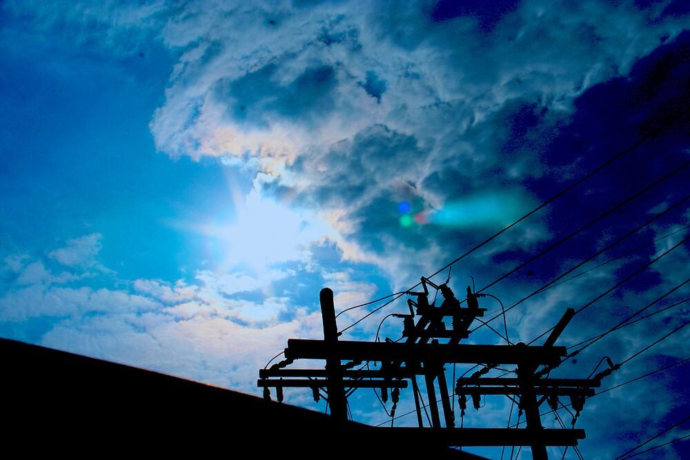 Blue sky power lines by joyfulphotos
