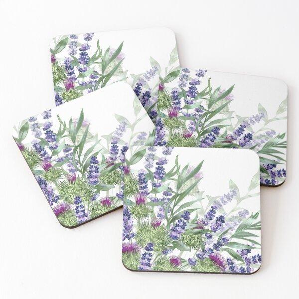 Thistles & Lavender Coasters (Set of 4)