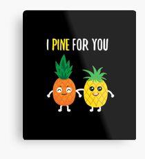 Pineapple Shirt I Pine For You Cute Pineapple Gift Tee Metallbild