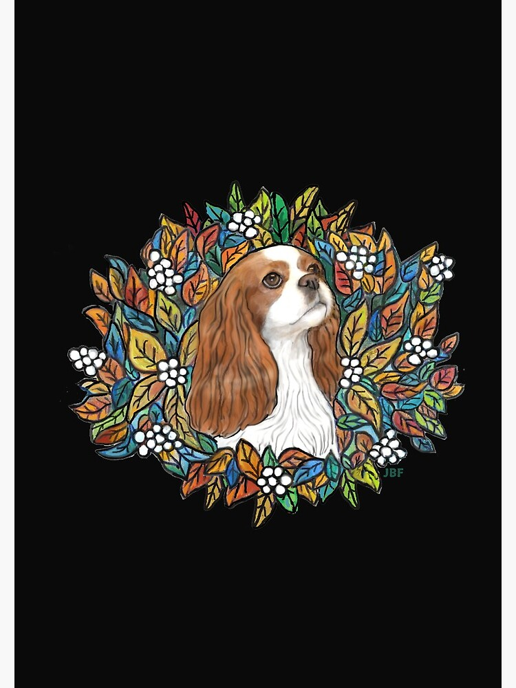 Blenheim Cavalier King Charles in Garden Wreath by JeanBFitzgerald