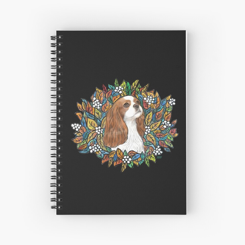 Blenheim Cavalier King Charles in Garden Wreath Spiral Notebook