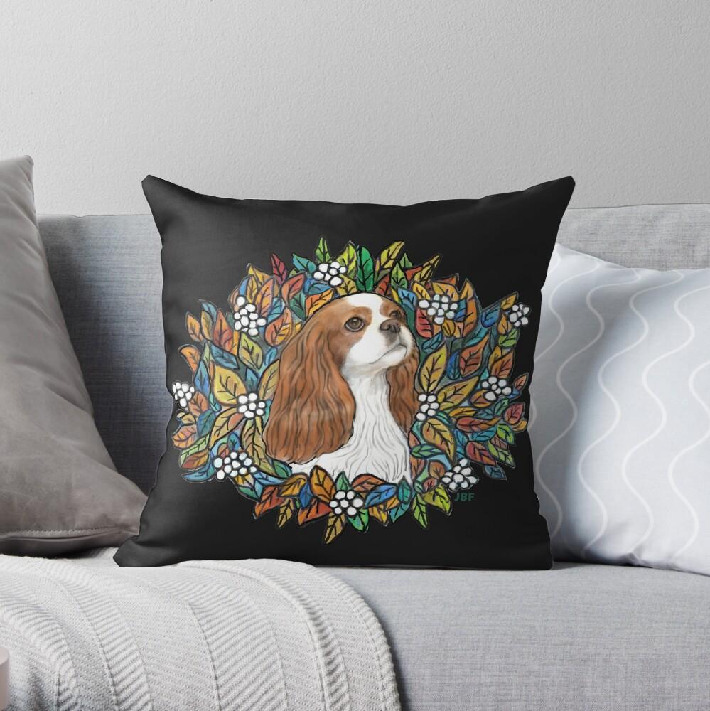 Blenheim Cavalier King Charles in Garden Wreath Throw Pillow