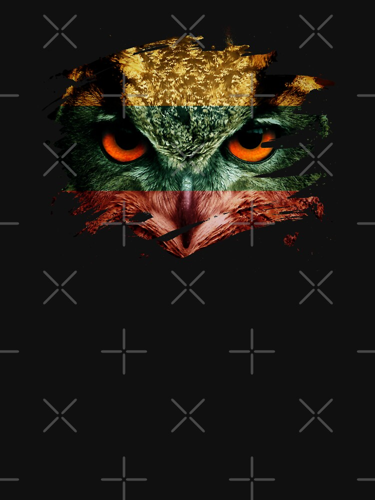 Lithuania Flag and Menacing Owl by ockshirts