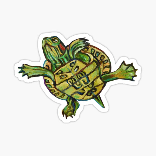 Slider Turtle Pattern  Sticker