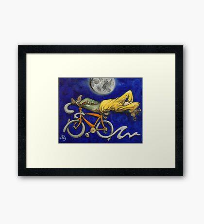 Man on bicycle Framed Print