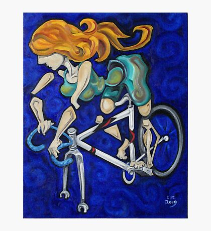 Bicycle Woman Photographic Print