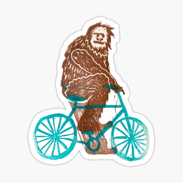 Biking Bigfoot Sticker