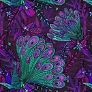 Peacock in Purple Forest by latheandquill