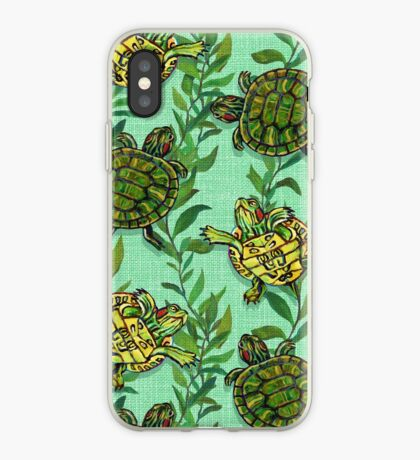Minty Green Slider Turtle Pattern by Robert Phelps iPhone Case