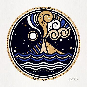 La Vita è Bella - Mittelmeervulkan in Tan Blue Palette von catcoq