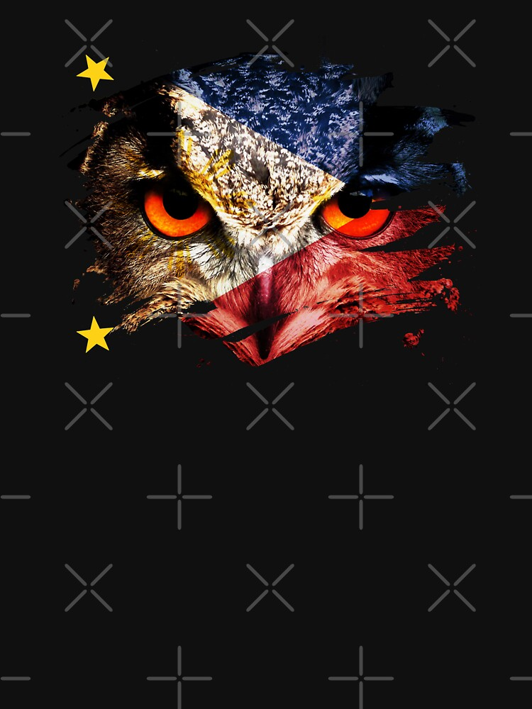 Philippines Flag and Menacing Owl by ockshirts