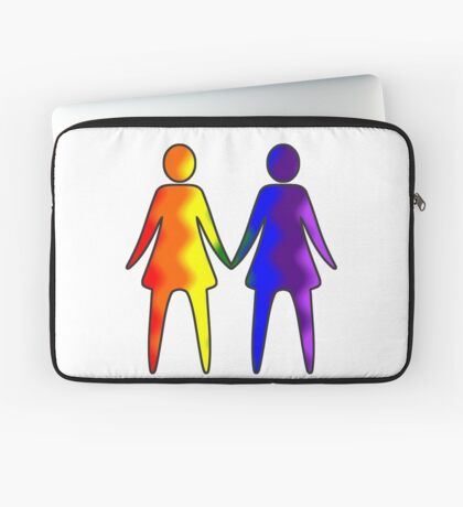 Wavy Rainbow Lesbian Couple #LGBT #Pride Laptop Sleeve