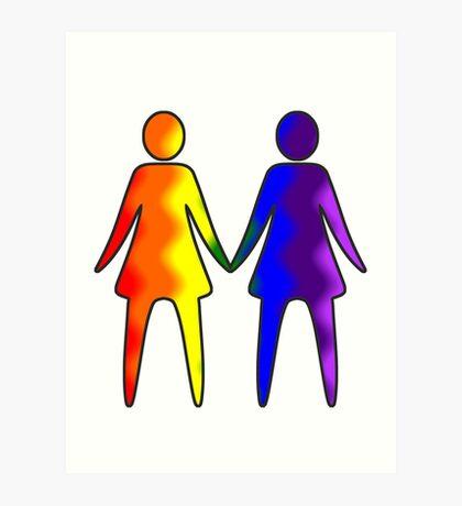 Wavy Rainbow Lesbian Couple #LGBT #Pride Art Print