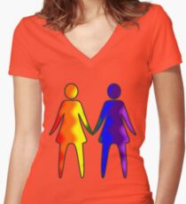 Wavy Rainbow Lesbian Couple #LGBT #Pride Women's Fitted V-Neck T-Shirt