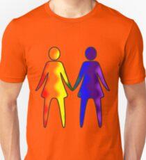 Wavy Rainbow Lesbian Couple #LGBT #Pride Slim Fit T-Shirt