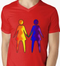 Wavy Rainbow Lesbian Couple #LGBT #Pride Men's V-Neck T-Shirt