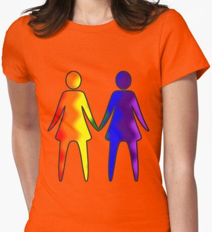 Wavy Rainbow Lesbian Couple #LGBT #Pride T-Shirt