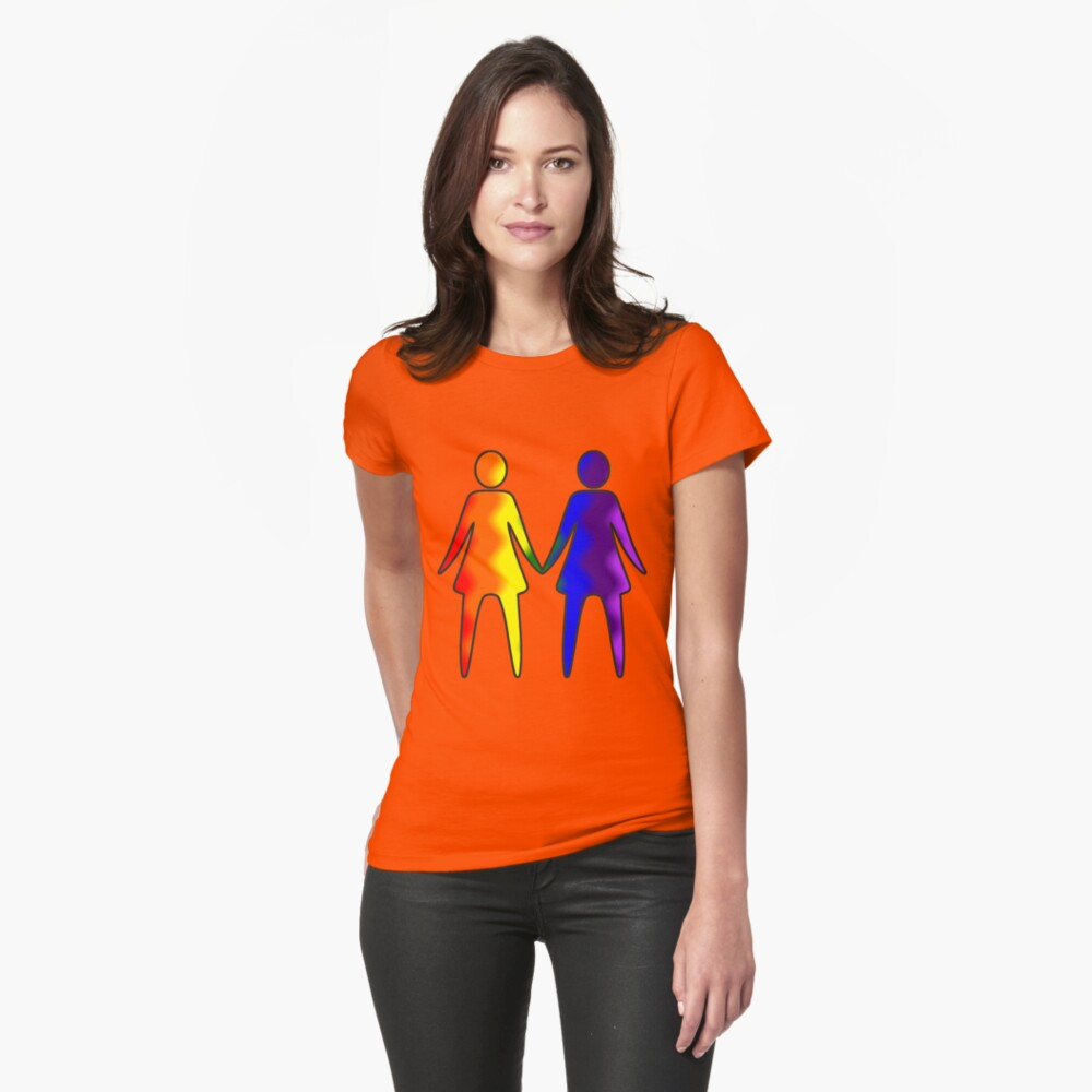 Wavy Rainbow Lesbian Couple #LGBT #Pride Fitted T-Shirt