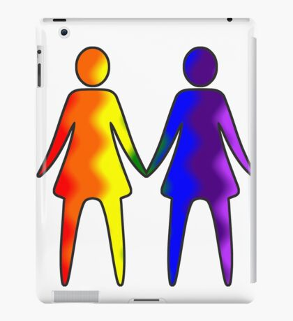 Wavy Rainbow Lesbian Couple #LGBT #Pride iPad Case/Skin