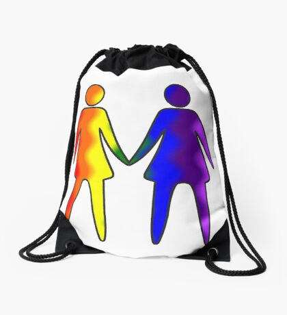 Wavy Rainbow Lesbian Couple #LGBT #Pride Drawstring Bag