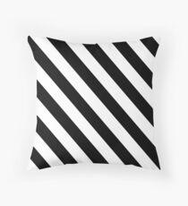 Black and White Diagonal Stripes Floor Pillow
