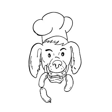 Chef Dog Biting Sausage String Cartoon Black and White by patrimonio