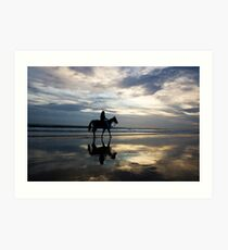 Horse riding on Birubi Beach Art Print