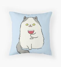 Red Wine Moustache Throw Pillow
